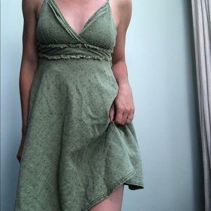 Free People   Fray Waist Olive Green Sundress